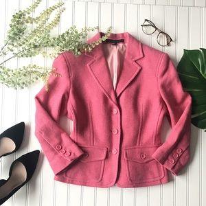 Express pink blazer wool button up jacket pocket